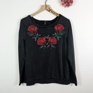 [H&M] Faded Black Floral Embroidered Sweatshirt